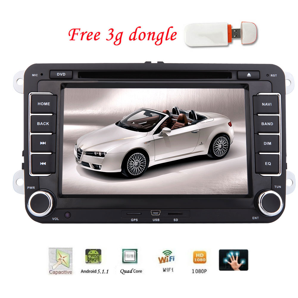 7 Inch Android 5.1 Quad Core Car Stereo with Capacitive Touch Screen Autoradio Double Din Car GPS DVD Video Receiver In Dash Bluetooth Navigation Auto Radio Audio System Support WiFi/OBD2/Mirror-Link