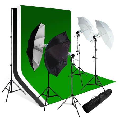 Chroma Key Kits - Loadstone Studio Photo Studio Lighting Umbrella Reflector Green Chroma key Continous Light kit, WMLS3082