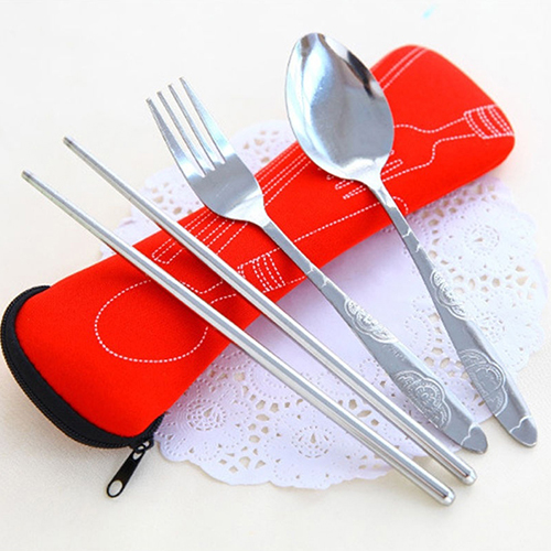 Girl12Queen 3 Pcs Fork Spoon Chopsticks Travel Stainless Steel Cutlery Portable Camping Bag