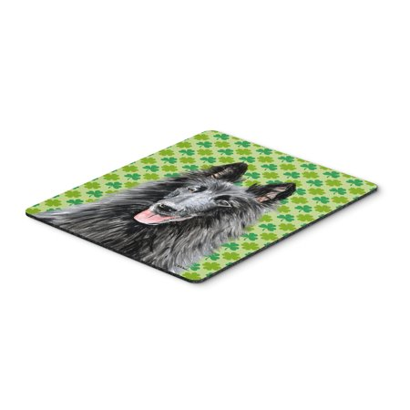 Belgian Sheepdog St. Patrick's Day Shamrock Mouse Pad, Hot Pad or Trivet