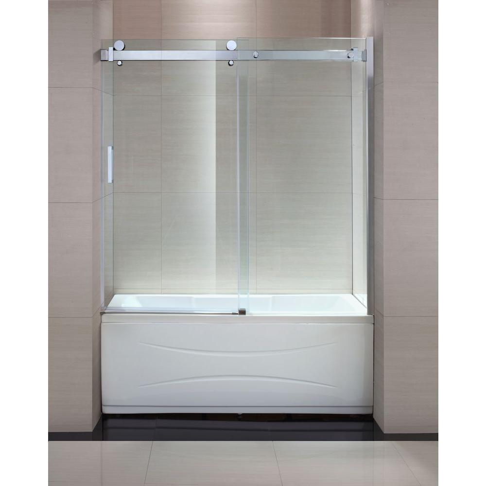 Simple Elegant Frameless Sliding Trackless Tub and Shower Door in Idea - Amazing trackless shower doors