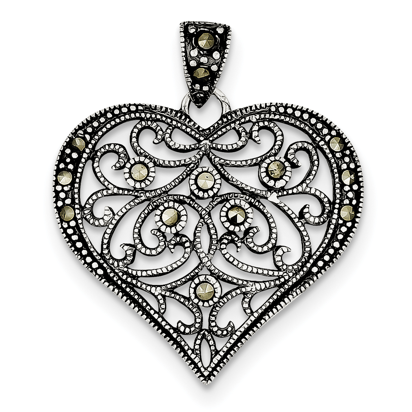 Sterling Silver Marcasite Heart Pendant QP1273