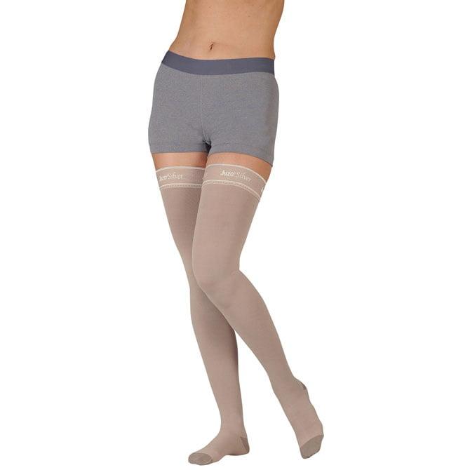 Juzo 2061 Silver Soft Open Toe Thigh Highs w/ Silicone Band - 20-30 mmHg  Short JUZO2061AGSB-P