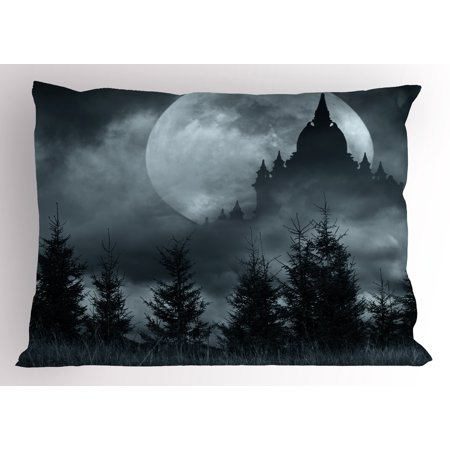 Halloween Pillow Sham Magic Castle Silhouette over Full Moon Night Fantasy Landscape Scary Forest, Decorative Standard Size Printed Pillowcase, 26 X 20 Inches, Grey Pale Grey, by Ambesonne - Halloween Magic Castle