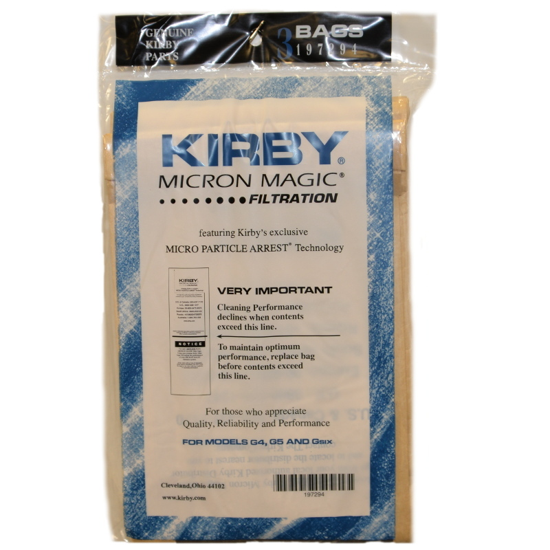 Kirby G4 & G5 Vacuum Cleaner Bags # 197294S - Genuine - 3 Pack.
