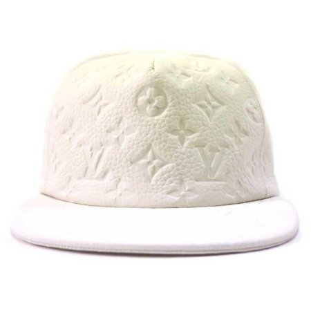 White Ss19 Virgil Abloh Leather Monogram Blanc Baseball Cap 870232 Hat ()