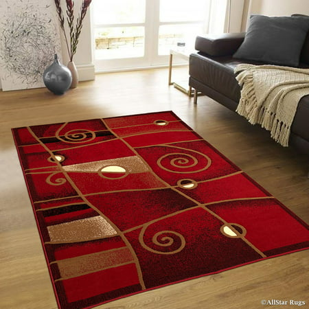 Allstar Red Abstract Modern Area Carpet Rug (5' 2