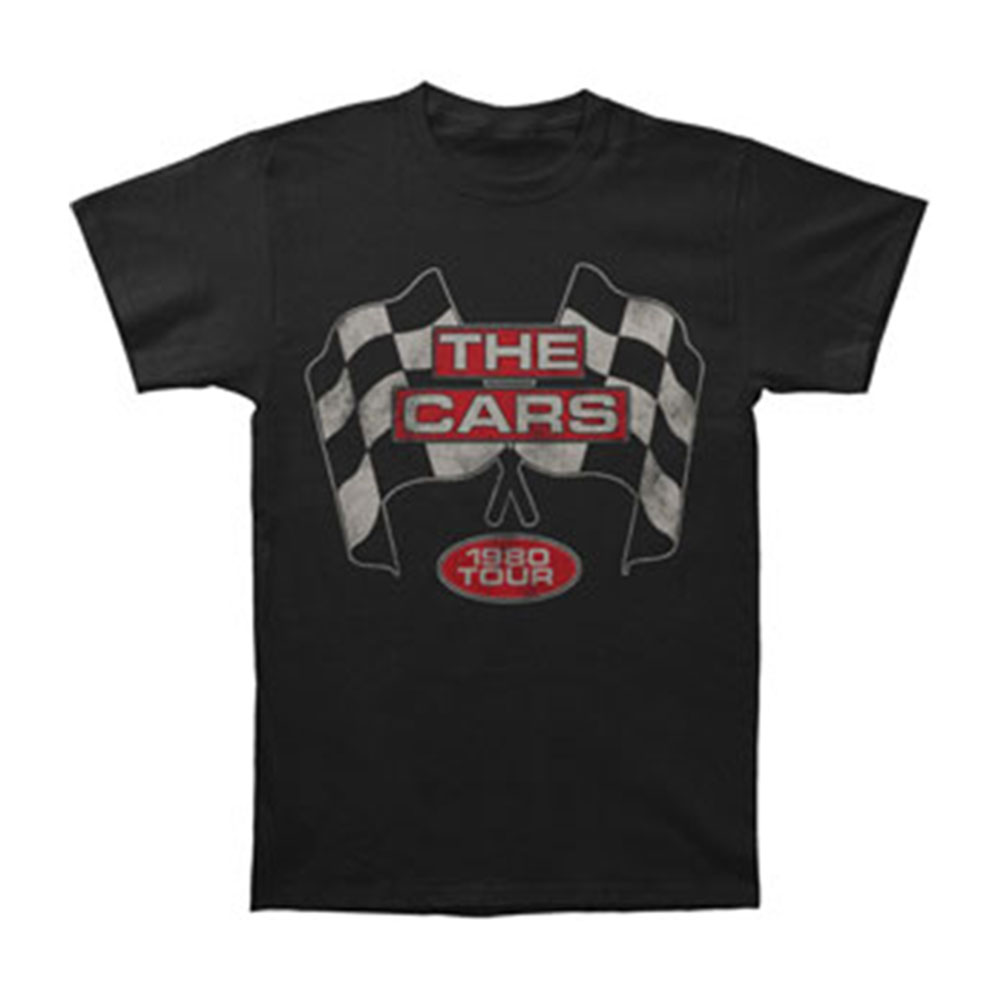 Cars Men's  Flags 1980 Tour Slim Fit T-shirt Black