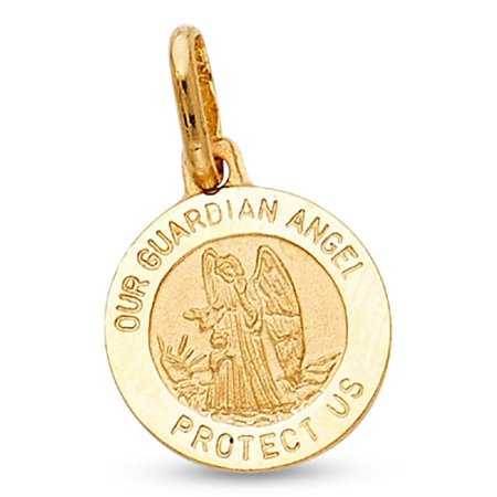 Guardian Angel Protect Us Pendant Solid 14k Yellow Gold Prayer Coin Charm Genuine 13 x 13 (Faceted Coin Pendant)