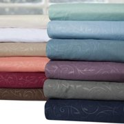 Luxurious 4-piece Embossed Scrolling Vine Pattern Sheet Set queen, taupe