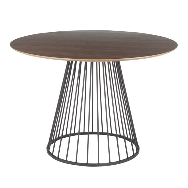 Canary Contemporary Dining Table in Black Metal and Walnut Wood Top by LumiSource