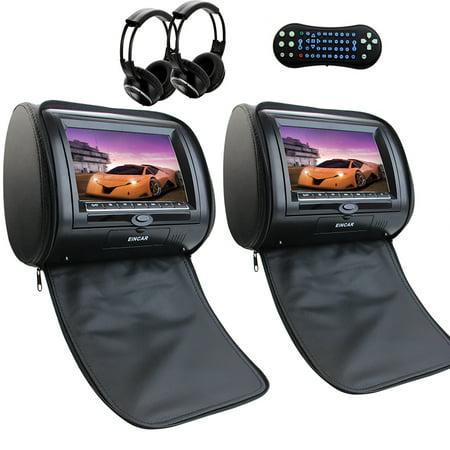 Free Remote Control + Ir Headphone Dual Headrest Car Video