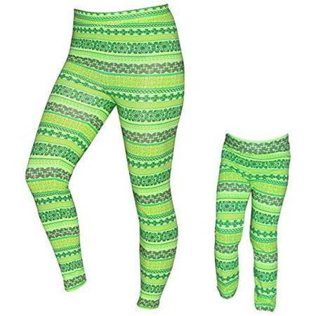 UB Girls Mommy and Me St Patricks Day Clover Leggings (18 (St Patrick's Day Leggings)
