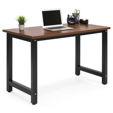 Large Library Desk - Best Choice Products Large Modern Computer Table Writing Desk Workstation for Home and Offce - Brown/Black