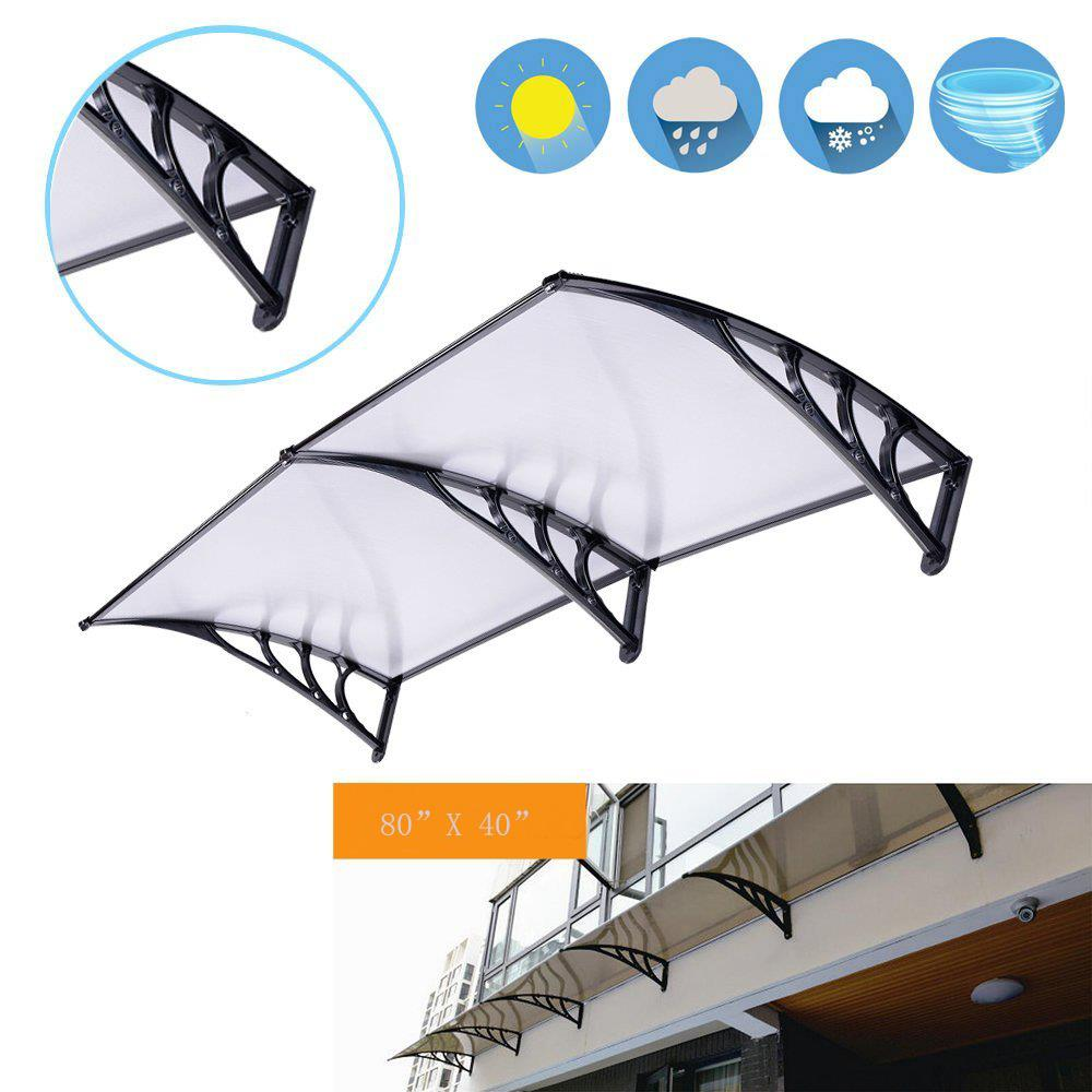"""Ktaxon Door Window Outdoor Awning Canopy Patio Cover,Rain Snow Protection,Polycarbonate,78.74"""" x 39.37"""""""