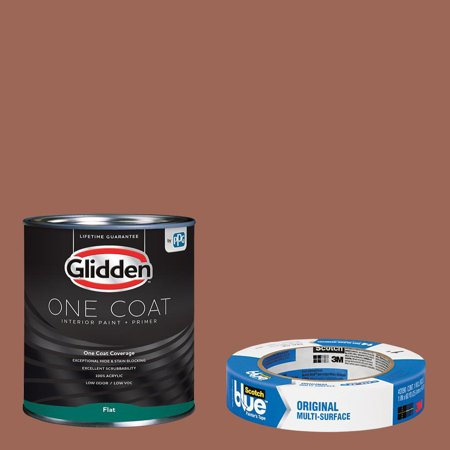 Glidden One Coat, Interior Paint + Primer, Apple Brown Betty, Flat Finish, 1 Gallon with ScotchBlue Painters Tape Original Multi-Use, .94in x 60yd(24mm x 54,8m Bundle ()