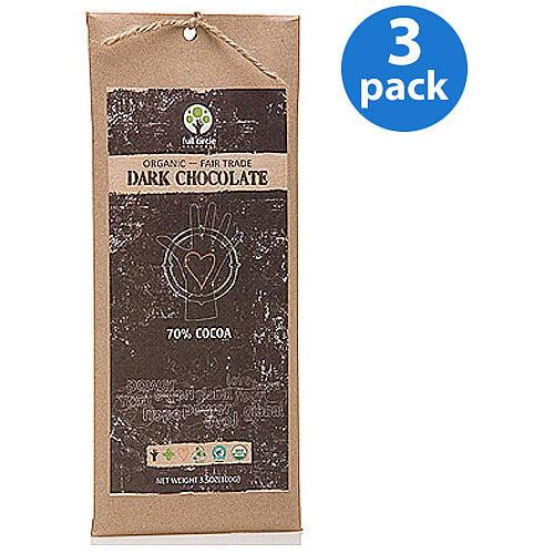 Full Circle Exchange: Full Circle Exchange Rainforest Alliance Certified, Organic Chocolate: Dark Chocolate 70% Cocoa 3.5 Oz, 3 Pack Dark Chocolate 70% Cocoa, 10.5 Ounces