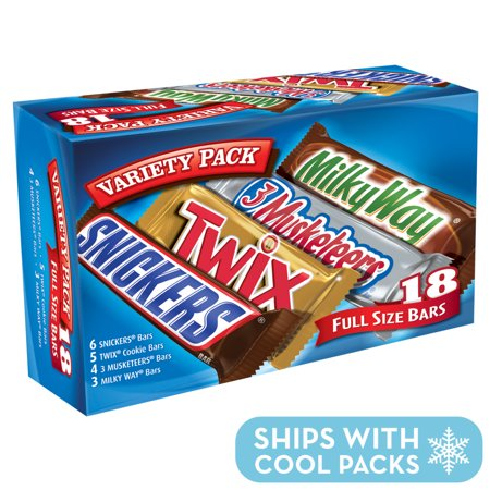 Mars Chocolate, Full Size Candy Bars Assorted Variety,(Milky Way, Twix, Snickers, 3 Musketeers), 33.31 Ounce, 18 (Harry Chocolate Shop)