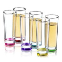 JoyJolt Hue Colored Glass 2 oz. Shooter (Set of 6)