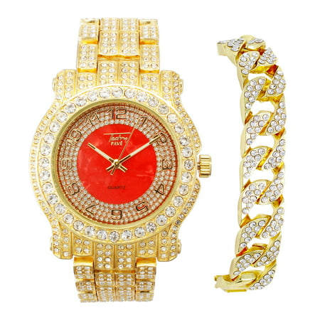 Techno Pave Men's Gold Hip Hop Watch and Bracelet, Iced Out Combo Set with Simulated CZ Crystals - Cuban, Tennis, Large Cuban Bracelet and More