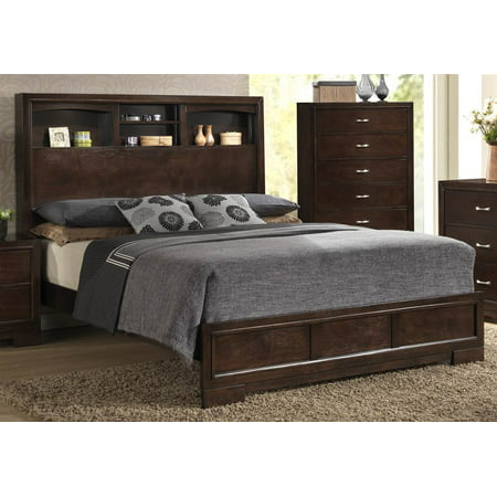 Panel Bed in Walnut Finish (Queen: 82 in. L x 65 in. W x 56 in. H (122 lbs.))