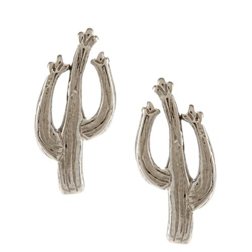 Southwest Moon  Silvertone Cactus Post Earrings