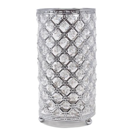 Metal Crystal Candle Holder with Hanging Beads, Silver, 9-1/2-Inch ()