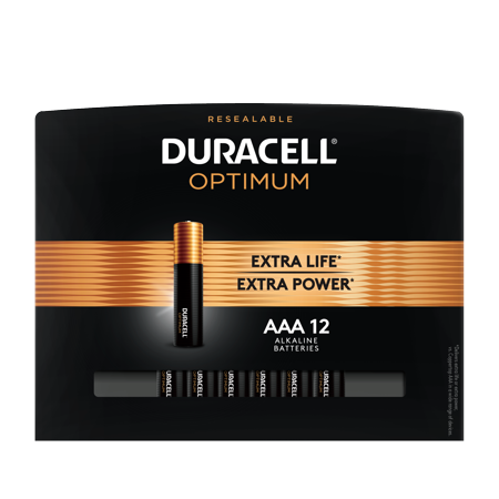 Duracell Optimum 1.5V Alkaline AAA Batteries, Convenient, Resealable Package, 12 Pack ()