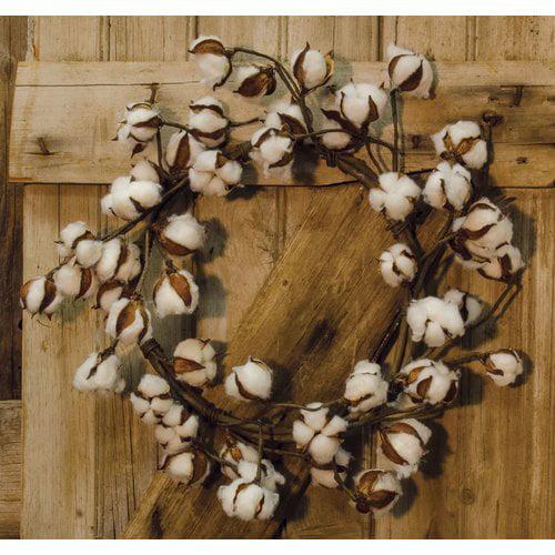 August Grove 20'' Cotton Ball Wreath