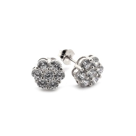 - 14k Yellow or White Gold Cubic Zirconia Cluster Flower Stud Earrings