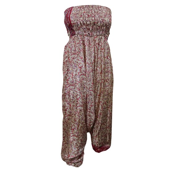 761c4690ed9d Mogul Interior - Mogul Women s Jumpsuit Dress Vintage Pink Silk Sari ...