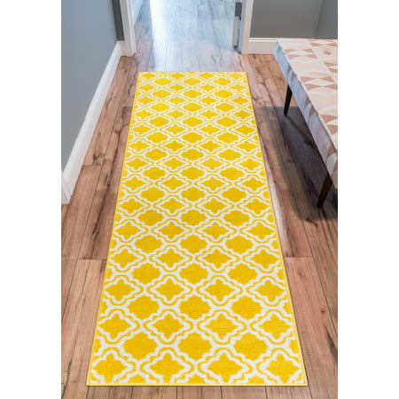 Modern Rug Calipso Yellow 2'X7'3'' Runner Lattice Trellis Accent Area Rug Entry Way Bright Kids Room Kitchn Bedroom Carpet Bathroom Soft Durable Area Rug ()