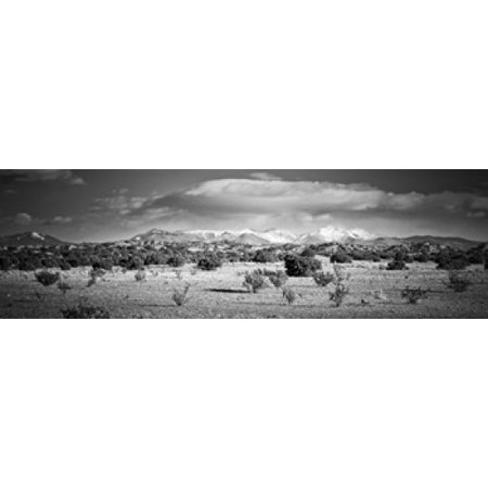High desert plains landscape with snowcapped Sangre de Cristo Mountains in the background New Mexico USA Canvas Art - Panoramic Images (18 x