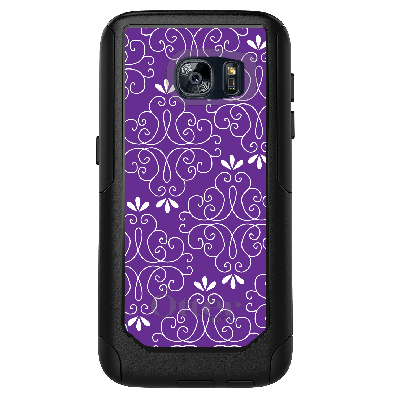 DistinctInk™ Custom Black OtterBox Commuter Series Case for Samsung Galaxy S7 - Purple White Floral