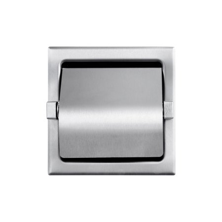 Recessed Single Roll Hooded Toilet Paper Holder Stainless Steel Satin Finish Roll Recessed Toilet