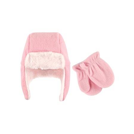 Mitten Set Toddler Hat (Hudson Baby Girl Traper Fleece Hat & Mittens 2pc)
