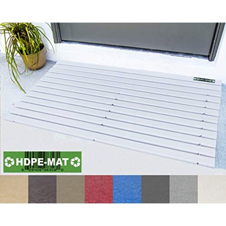White Mat HDPE-MAT UV Resistant Heavy Duty Waterproof Front Door Mat | Stylish Handcrafted Recycled Plastic Poly Lumber Slats - Eco Friendly for Outdoor Entrance Patio Garage Entry ( (Recycled Lumber)