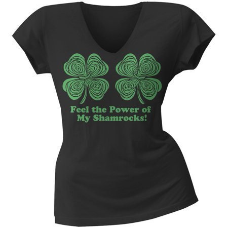 St Patrick's Day Clothes For Women (St. Patricks Day - Feel the Power Hypnotic Shamrock Juniors V Neck Soft)