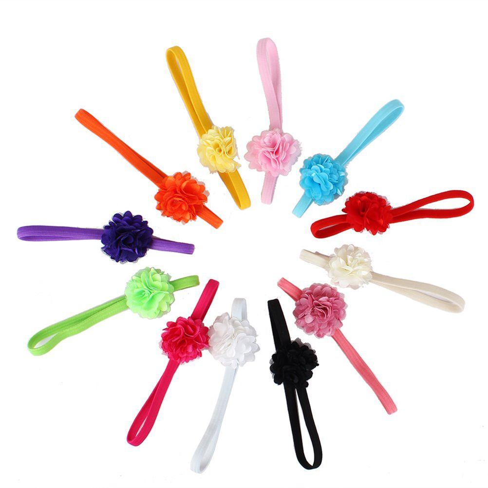 12 Colors Cute Infant Baby Girls Flower Style Elastic Headbands Hair Bands Hair Accessories Photo Props