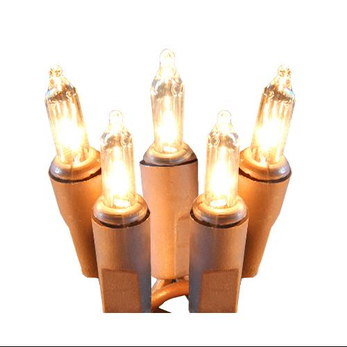 Set of 100 Super Bright Clear Mini Christmas Lights - Brown Wire