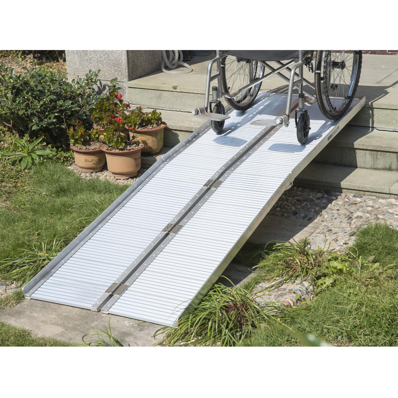 homcom 10u0027 folding portable suitcase mobility wheelchair threshold ramp walmartcom - Aluminum Ramps