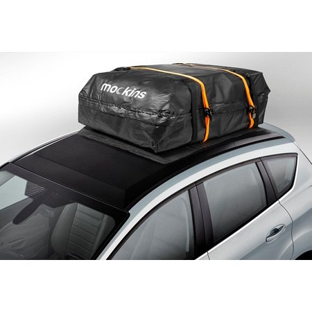 mockins Waterproof Cargo Roof Bag Set With A protective Car Roof Mat And 2 Extra Ratchet Straps | The Roof Top Cargo Bag Is Made From Heavy Duty Abrasion Resistant Vinyl And has 15 Cubic feet Of Space