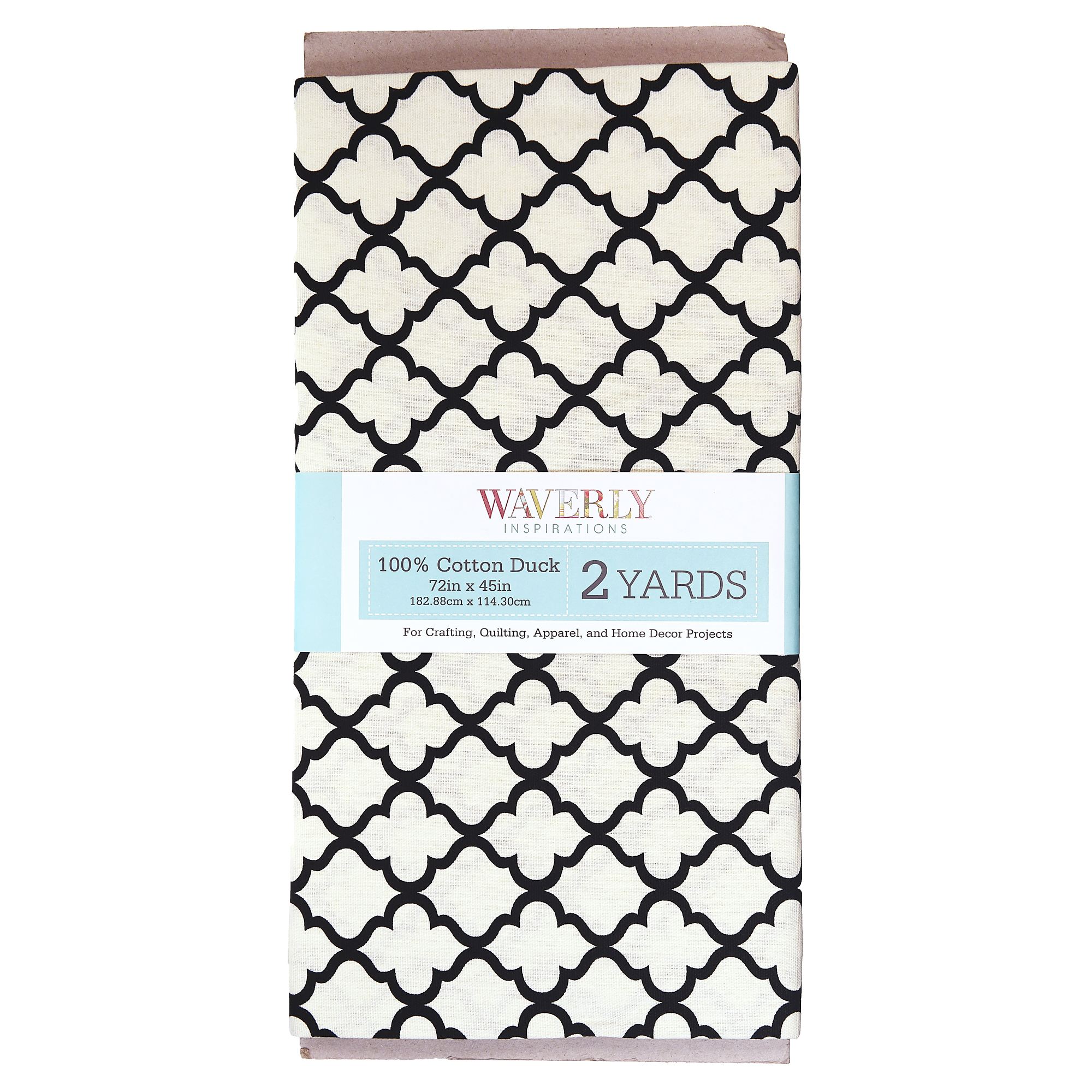 "Waverly Inspirations 45"" Lattice Cream & Black Fabric, per Yard"