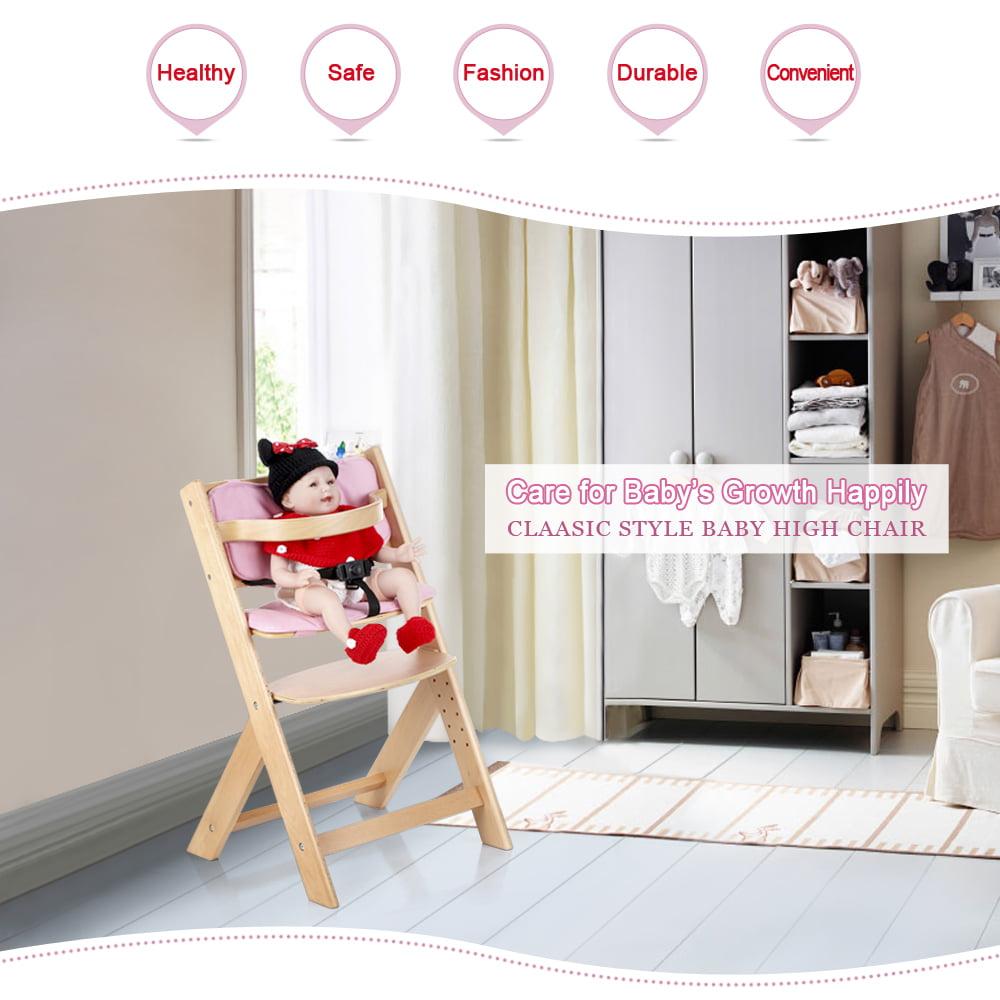 iKayaa Toddler Baby Wooden High Chair with Cushion Height Adjustable Beech Wood Highchairs by iKayaa