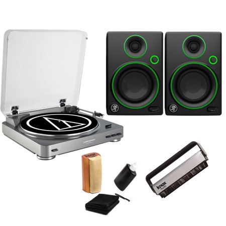 - Audio-Technica AT-LP60 Turntable with 2 Mackie CR3 Monitors & Knox Cleaning Kit