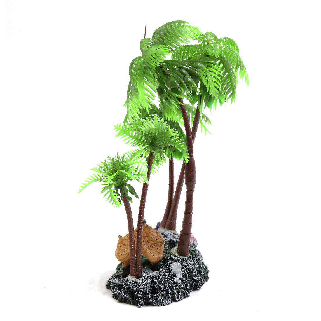 Green Plastic Coconut Tree Aquarium Aquascape Plant Decoration w/ Resin Base - image 1 of 4