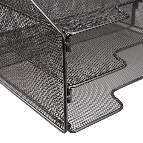 Vanra Metal Mesh Desktop File Sorter Organizer Desk Tray Organize With 3 Letter Trays And 2