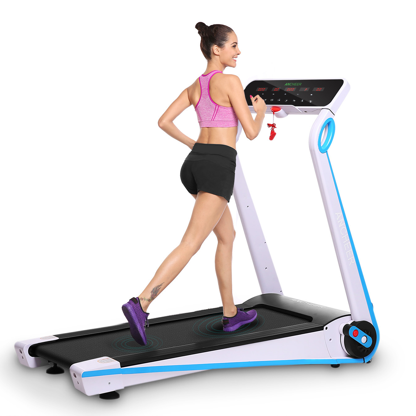 ANCHEER APP Control Folding Treadmill, Electric Motorized Power Health & Fitness Running Machine