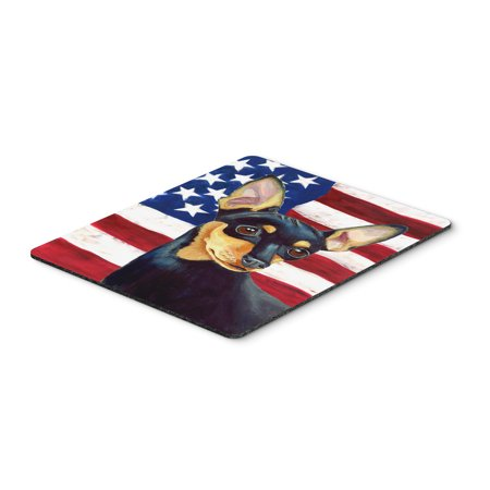 USA American Flag with Min Pin Mouse Pad, Hot Pad or Trivet
