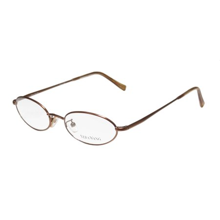 New Vera Wang V09 Womens/Ladies Oval Full-Rim Bronze Light Style Imported From Italy Frame Demo Lenses 47-17-135 Flexible Hinges Eyeglasses/Eye (Glasses Frames For 60 Year Old Woman)